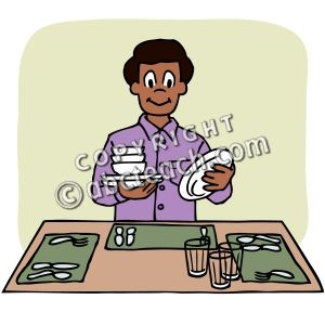 Kid Set Table Clipart.