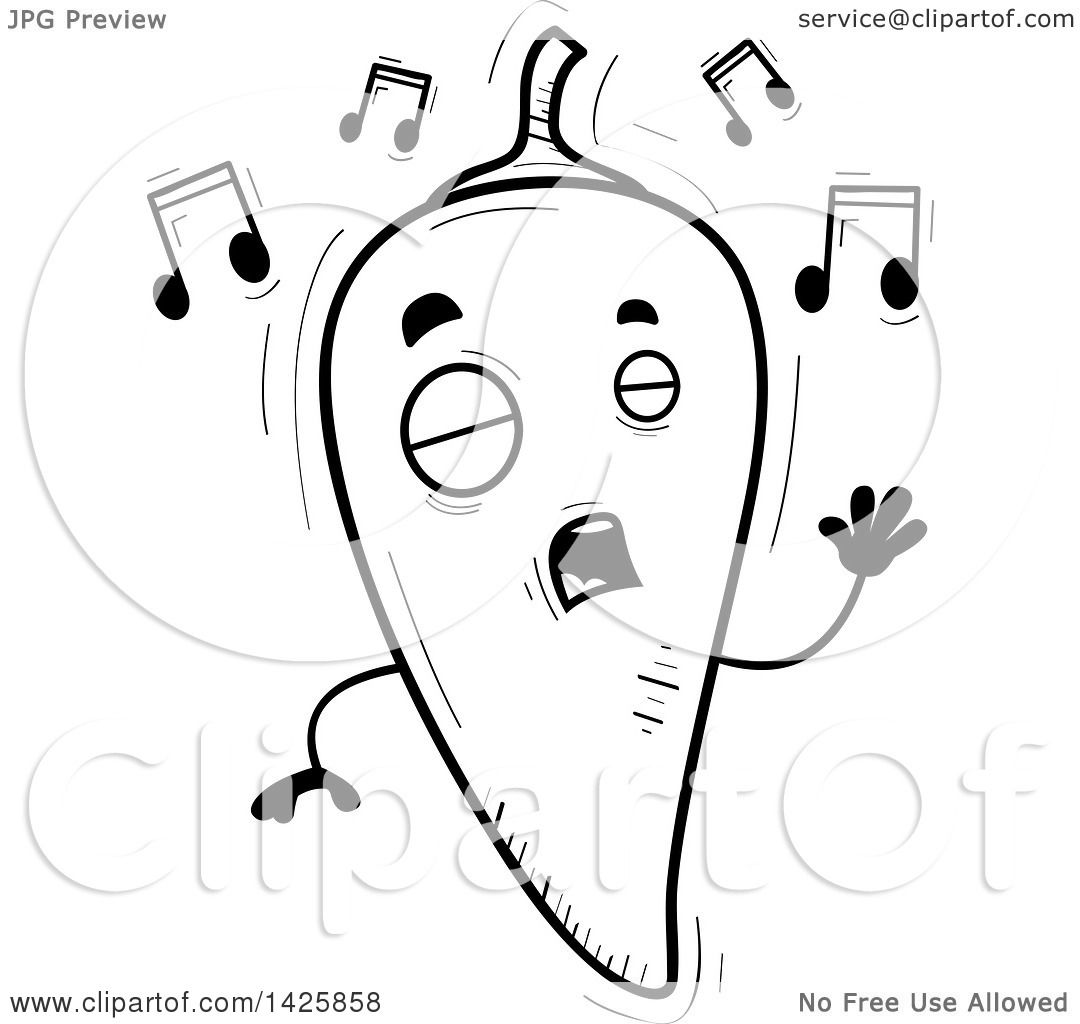 Clipart of a Cartoon Black and White Doodled Singing Hot Chile.