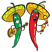 Clip Art of Happy Cartoon Red and green chili k15473178.