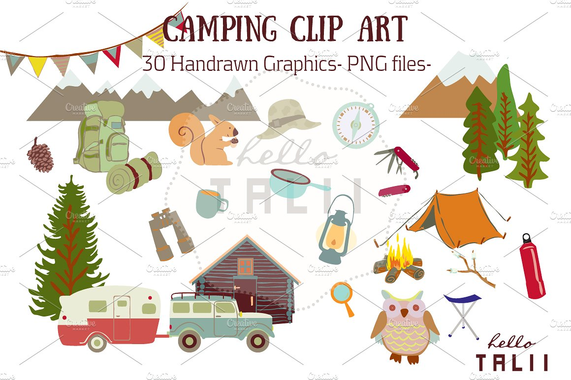 Camping Clip Art ~ Illustrations on Creative Market.