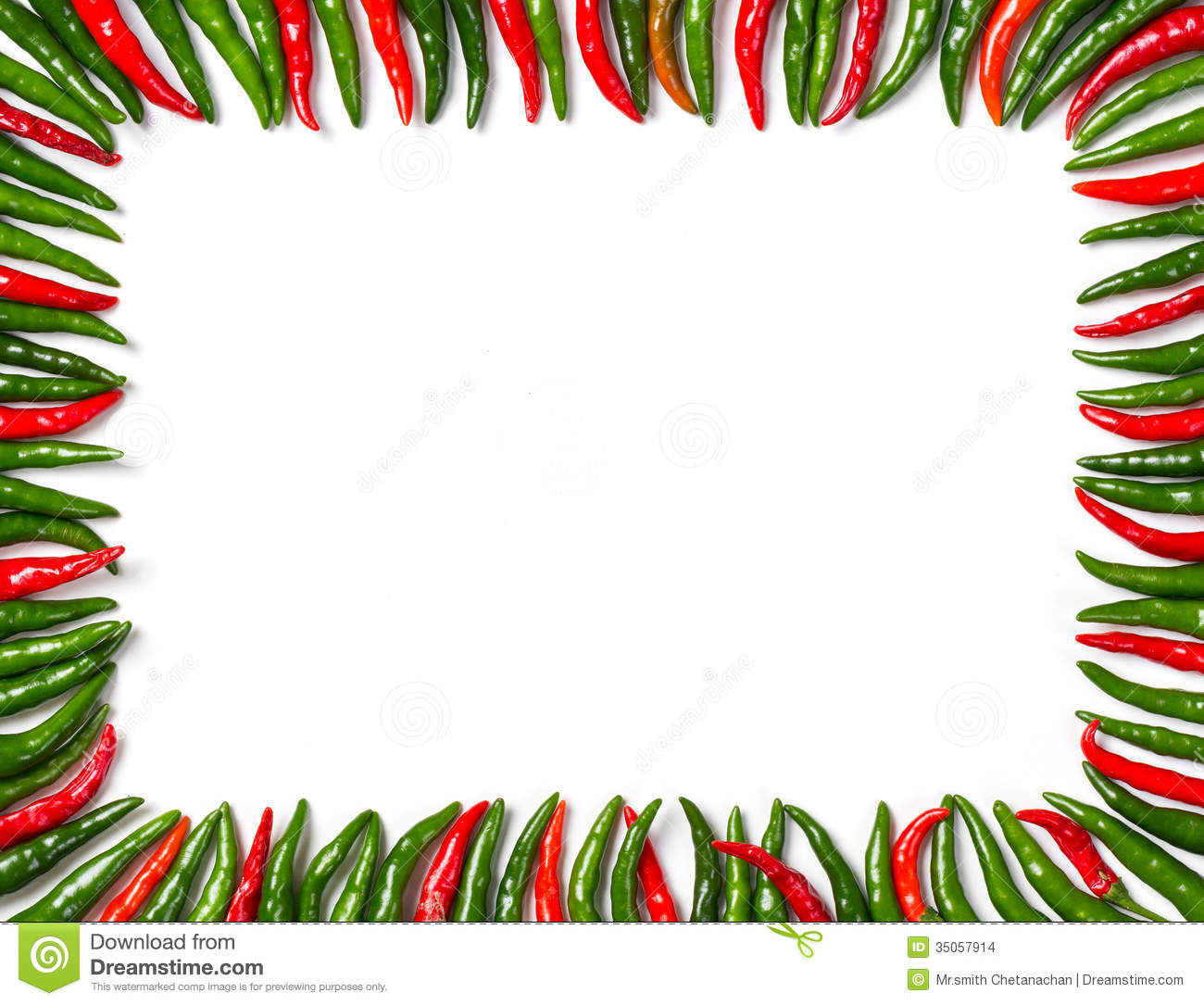 Rectangular Red And Green Bird Chili Frame Stock Images.