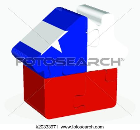 Clipart of house home icon with Chile flag in puzzle k20333971.
