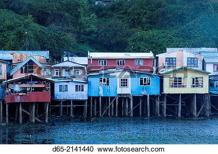 Stock Photography of Chile, Chiloe Island, Castro, palafito stilt.