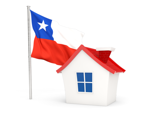 House with flag. Illustration of flag of Chile.