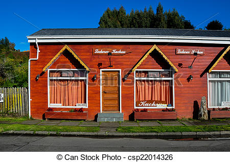 Stock Photo of Traditional house German Style in Frutillar, Chile.