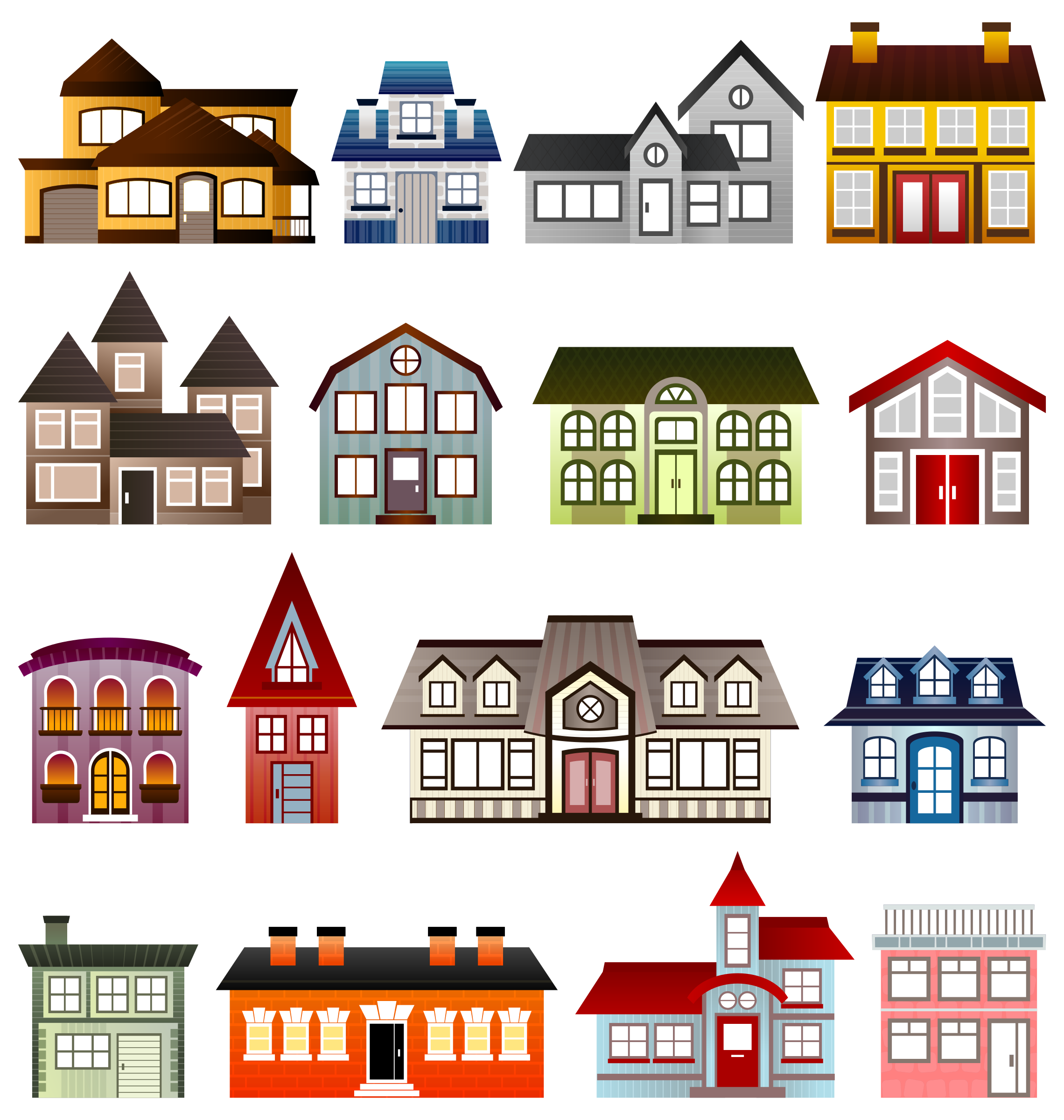 Simple Houses Vector Clipart.