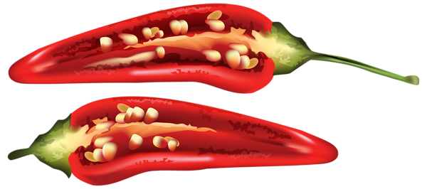 Half Red Chili Pepper PNG Clip Art Image.
