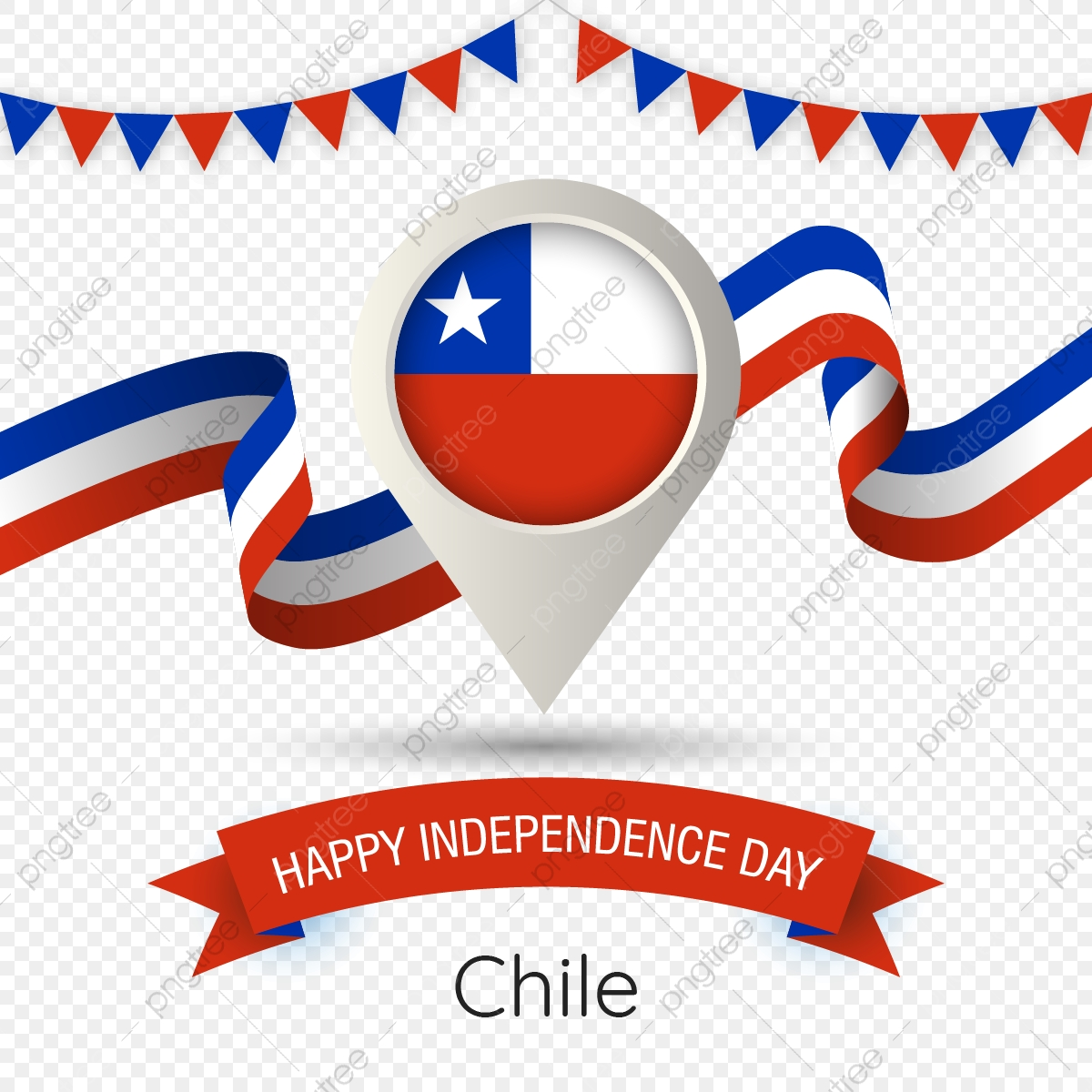 Chile Independence Day With Stylized Country Flag Pin Illustration.