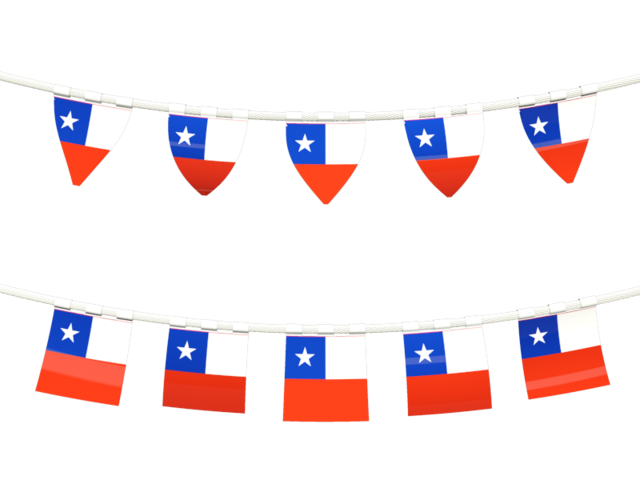 Rows of flags. Illustration of flag of Chile.