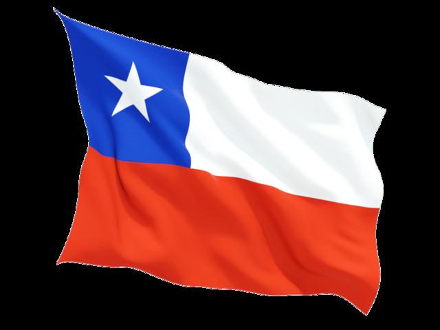 Fluttering flag. Illustration of flag of Chile.