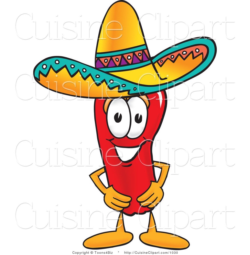 Cuisine Clipart of a Mexican Chili Pepper Wearing a Sombrero Hat.