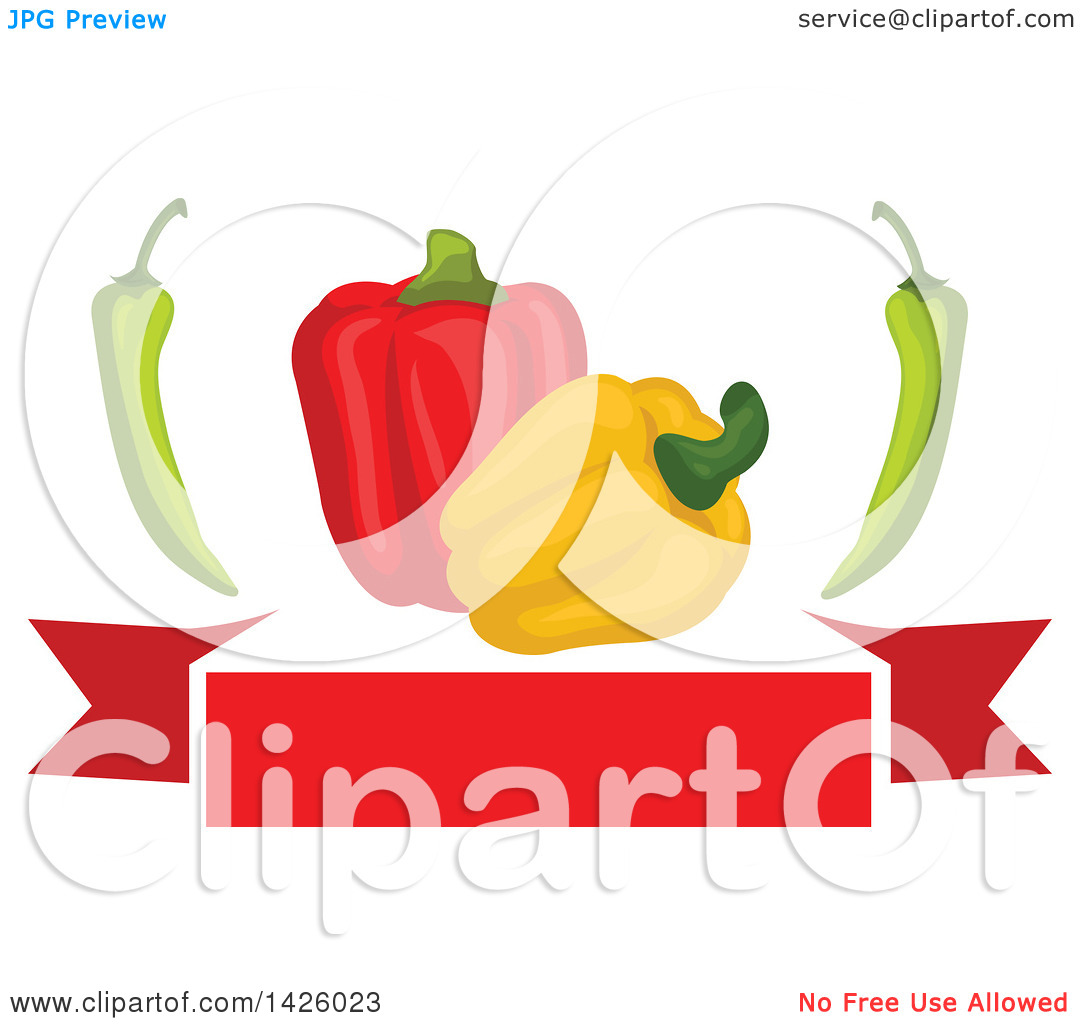 Clipart of Red and Yellow Bell Peppers and Chiles over a Red.