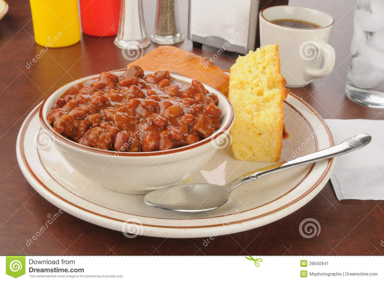 Chili with cornbread stock image. Image of meal, condiments.