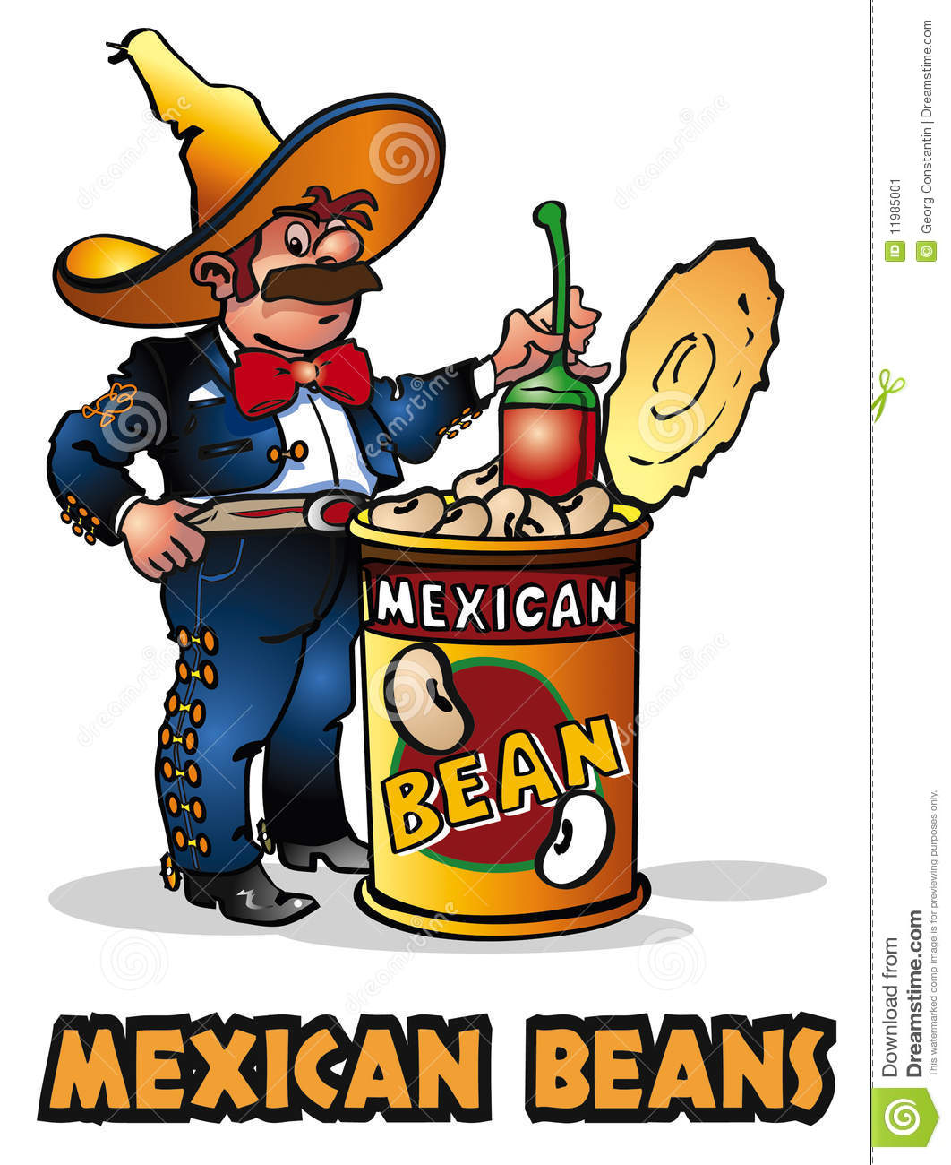 Mexican Beans stock vector. Illustration of chili, sombrero.
