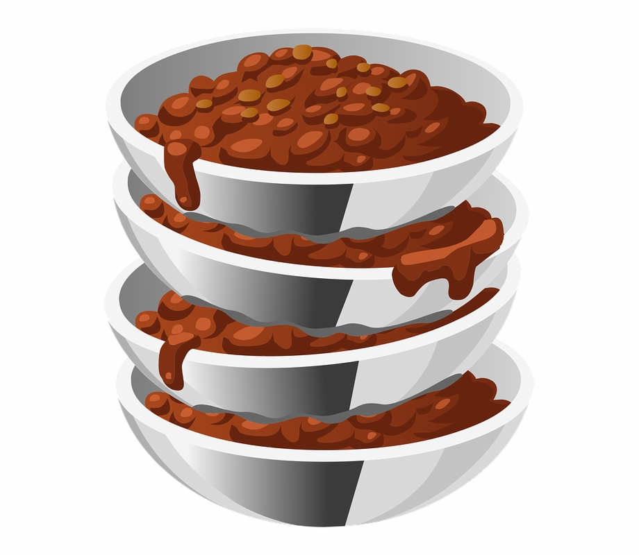 Beans, Cooked, Food, Steel, Bowls, Four, Servings.