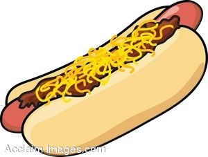 Clip Art of a Cartoon Chili Dog With Cheese.
