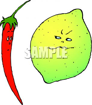 A Lime Flirting with a Chili Pepper Clipart Image.