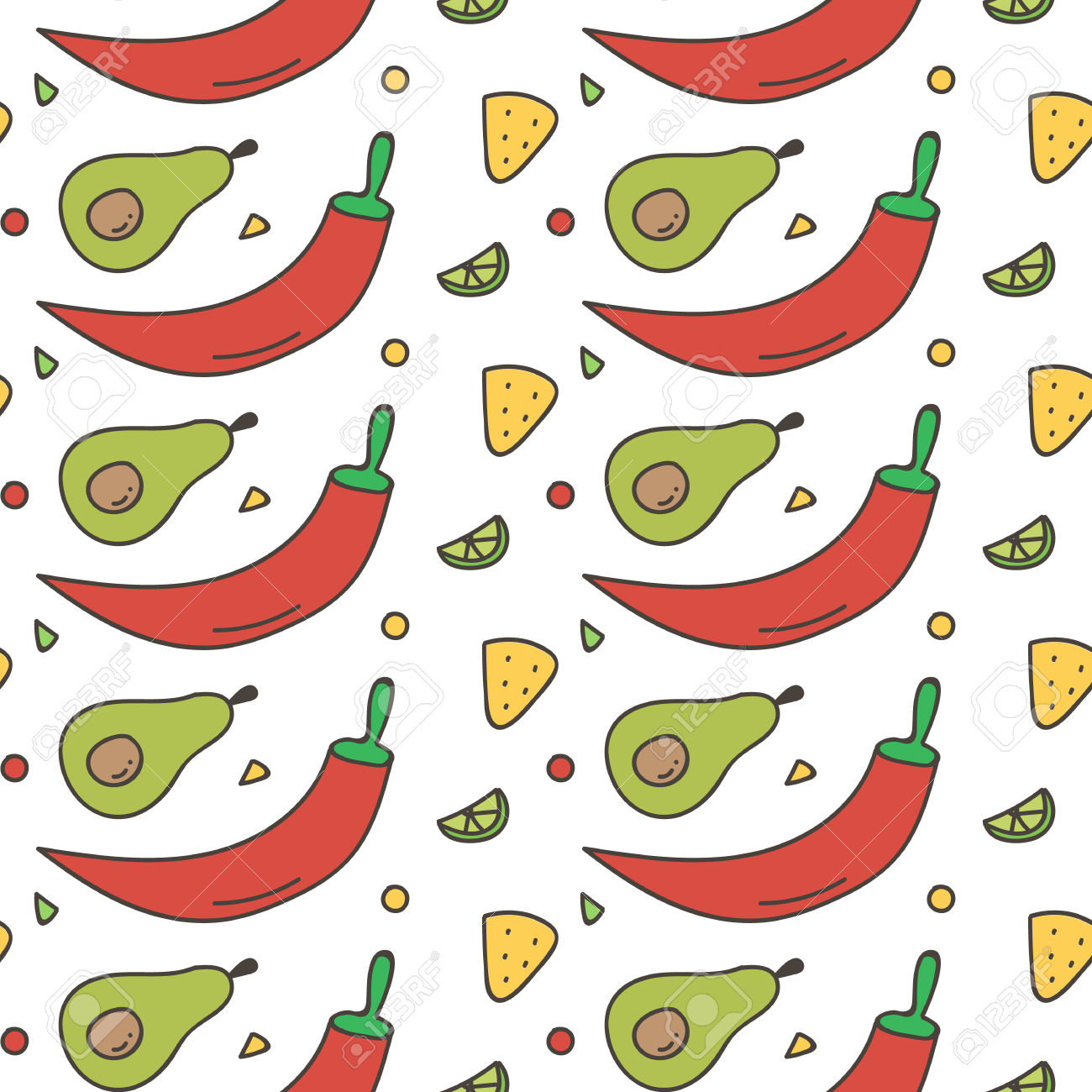 Colorful Mexican Food Seamless Pattern Background. Hot Chili.