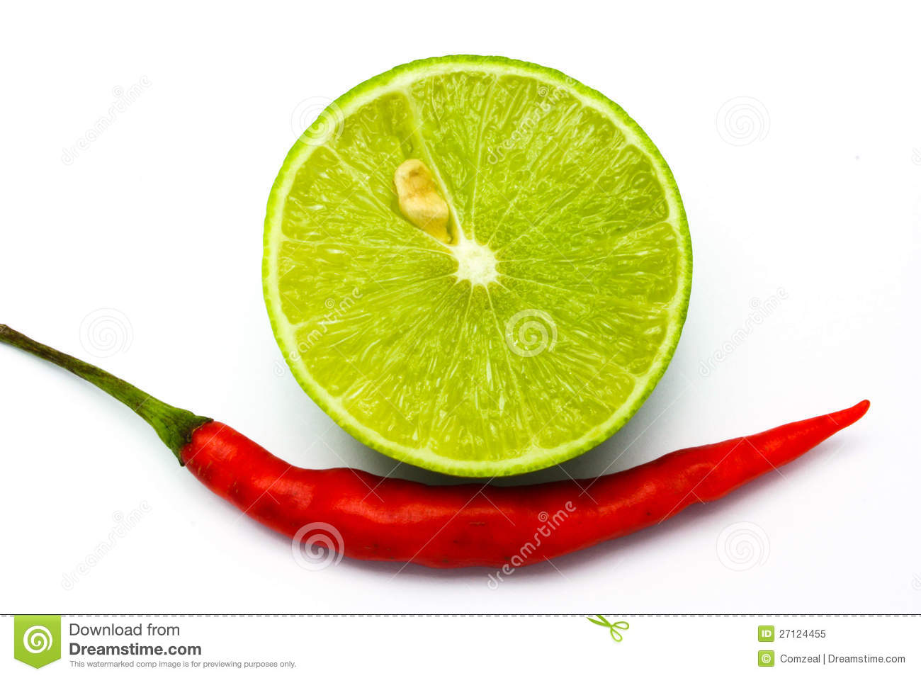 Fresh Ripe Lime And Red Hot Chili Pepper Stock Photo.