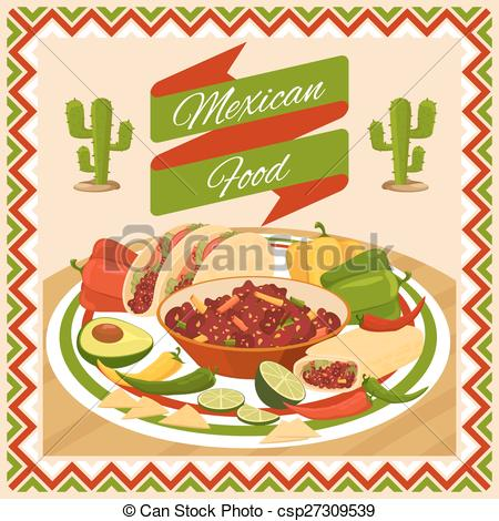 Vectors of Mexican food poster. Vegetable and chili, avocado and.