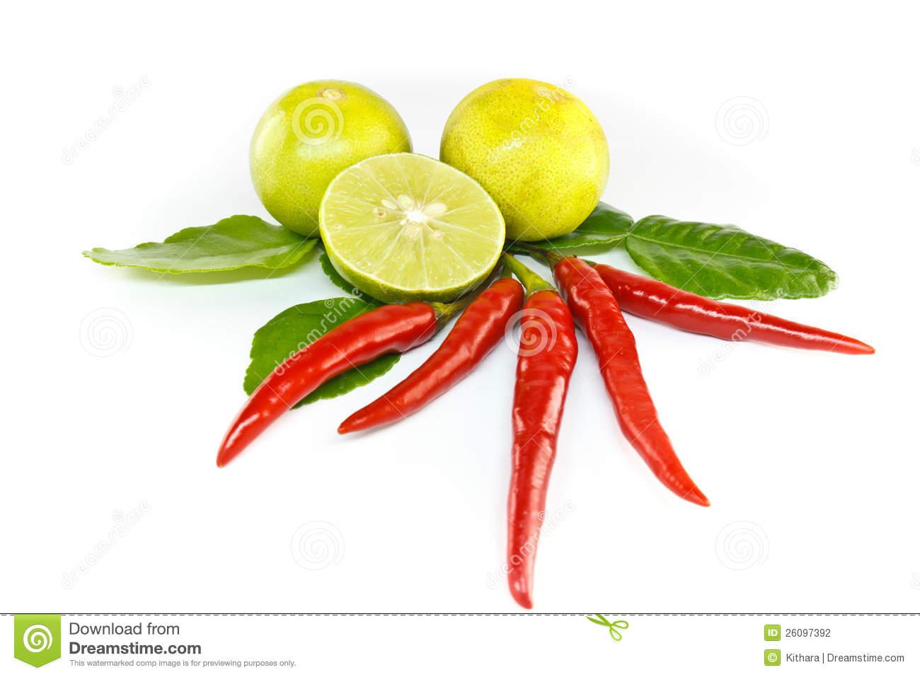 Chilli, Lemon And Kaffir Lime Leaves Stock Photography.