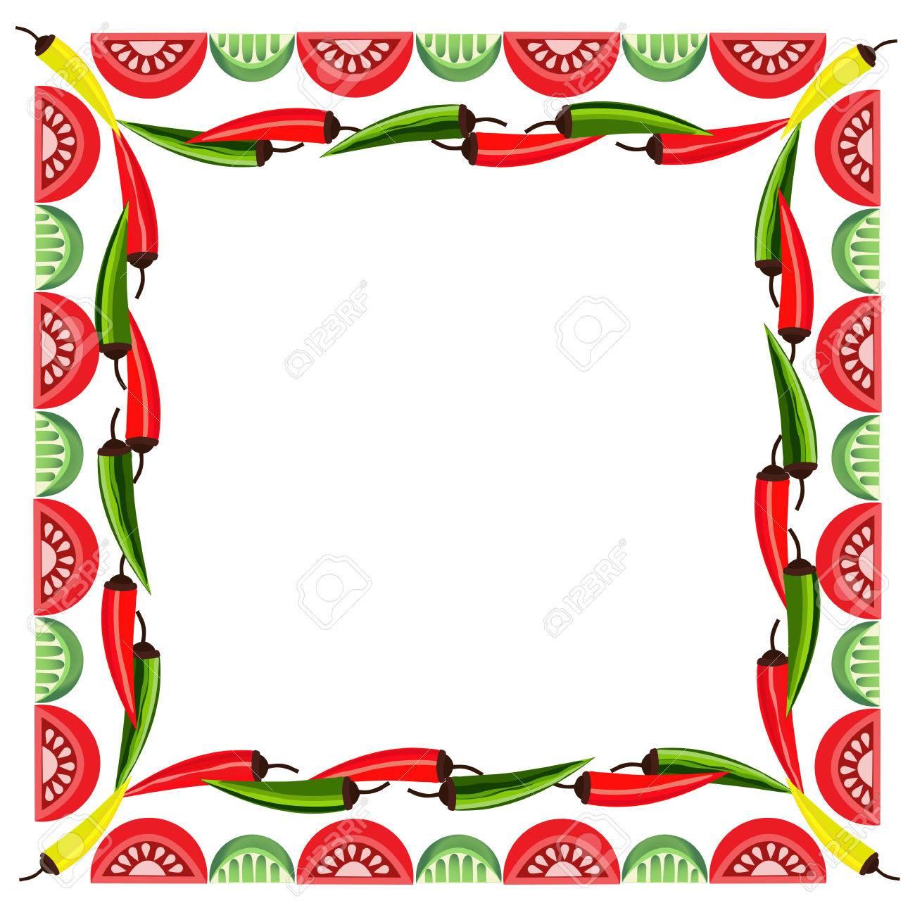 Mexican style. Mexican border Concept. Fiesta menu frame. Chili...