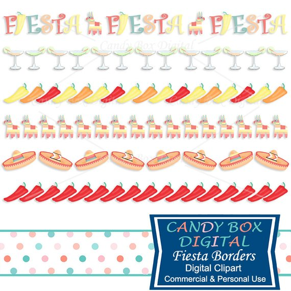 Mexican Fiesta Border Clipart, Mexican Clip Art with Chili Peppers.
