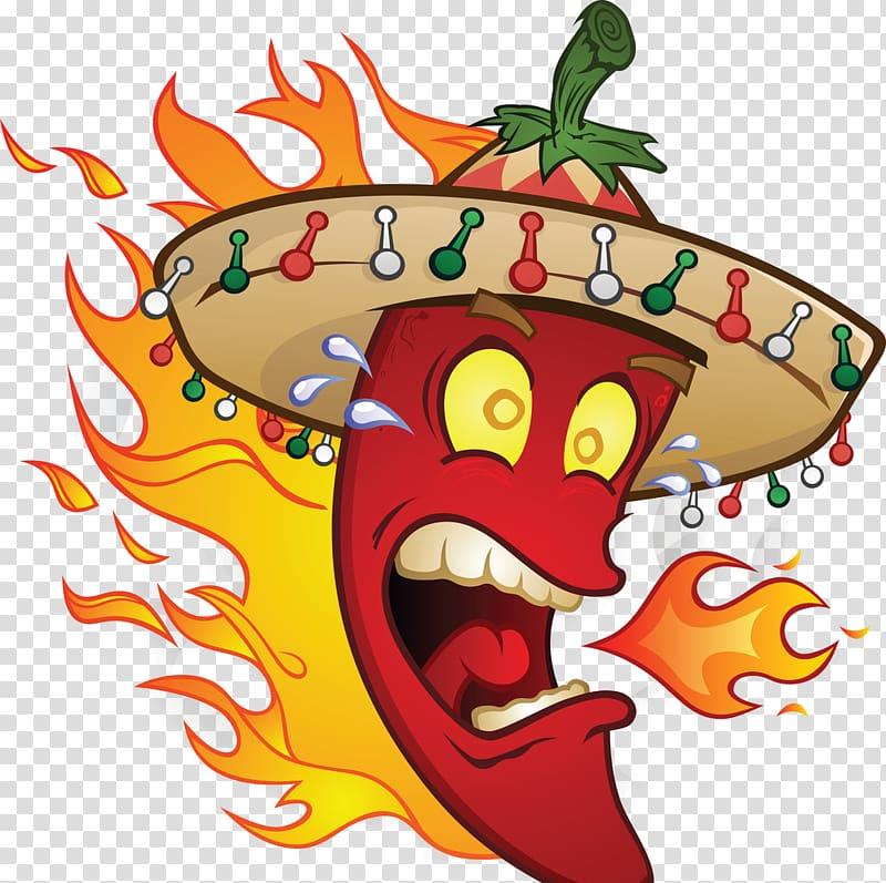 Chili pepper Chili con carne Mexican cuisine Cartoon.