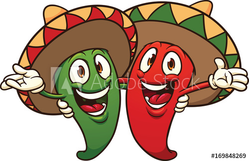 Happy cartoon Mexican chili peppers. Vector clip art illustration.