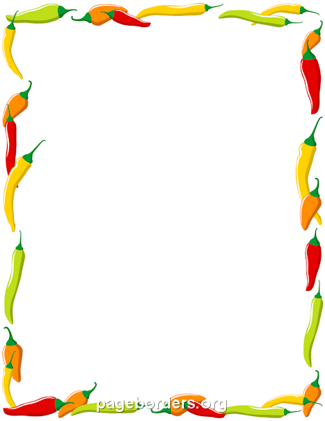 Chili Pepper Border: Clip Art, Page Border, and Vector Graphics.