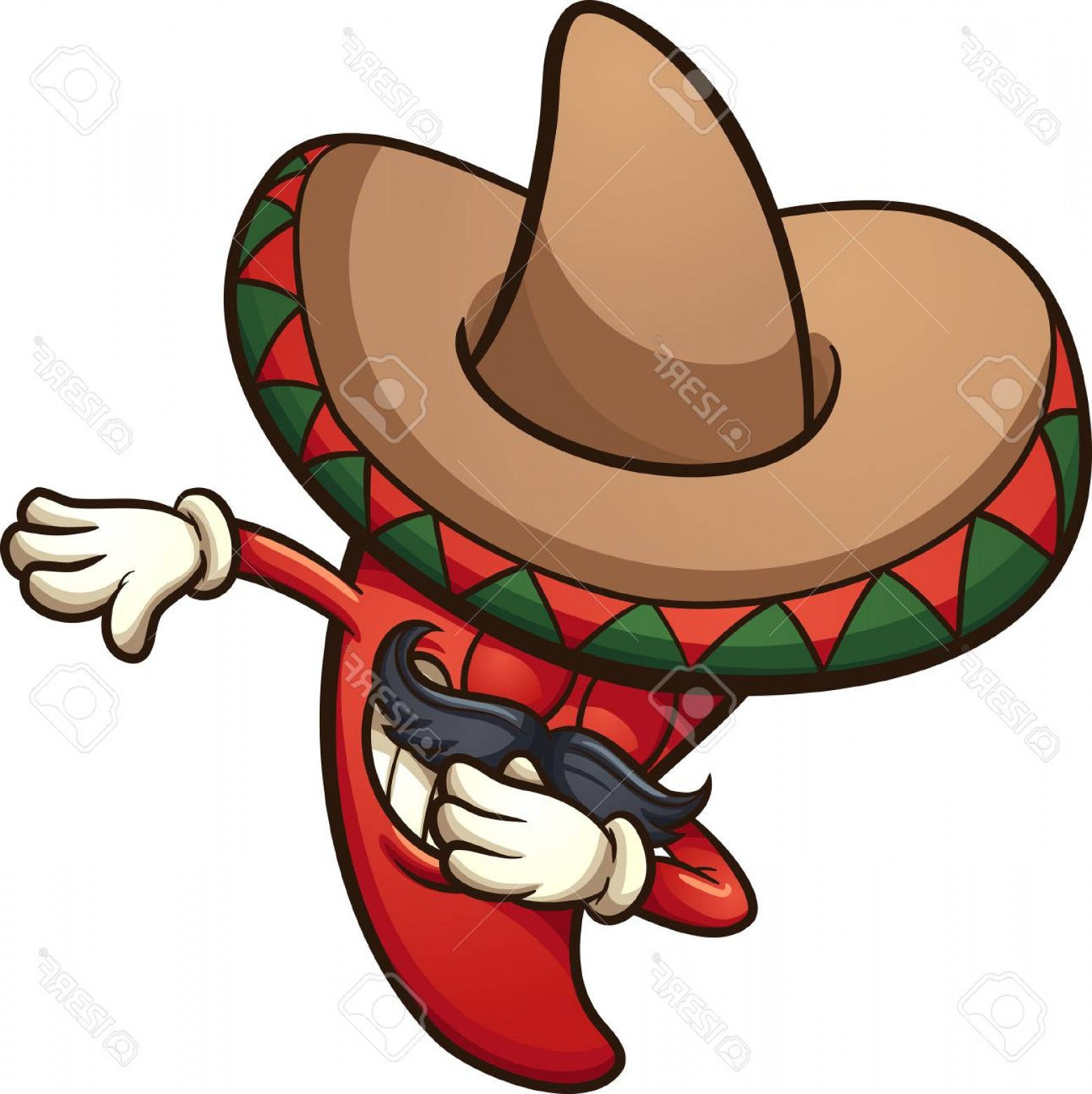 Photostock Vector Dabbing Mexican Red Chili Pepper Vector Clip Art.
