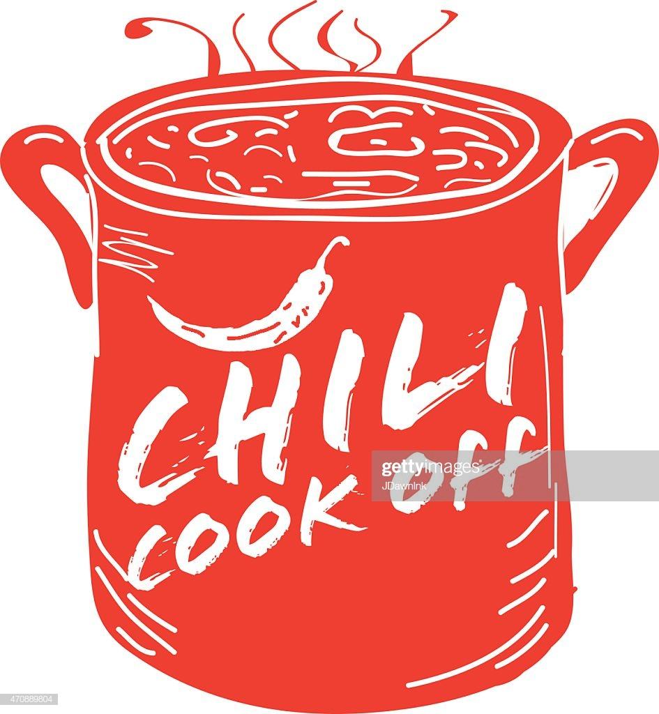 Cute Red Chili Pot Cookoff Event Icon Design stock illustration.