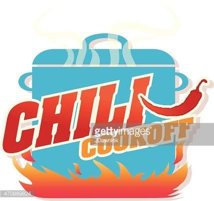 Cute Blue Chili Pot Cookoff Event Logo OR Icon Design premium.