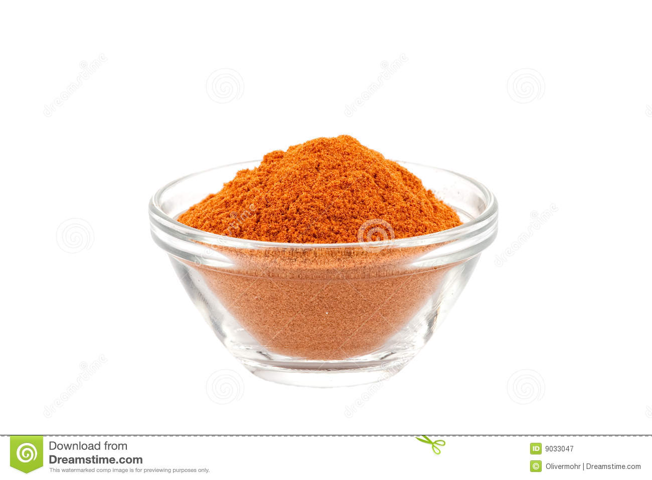 Chili Powder In Glass Bowl Royalty Free Stock Photography.