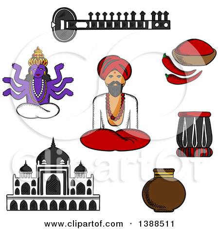 Clipart of a Black and White Sketched Sitar, Fresh Chili Pepper.