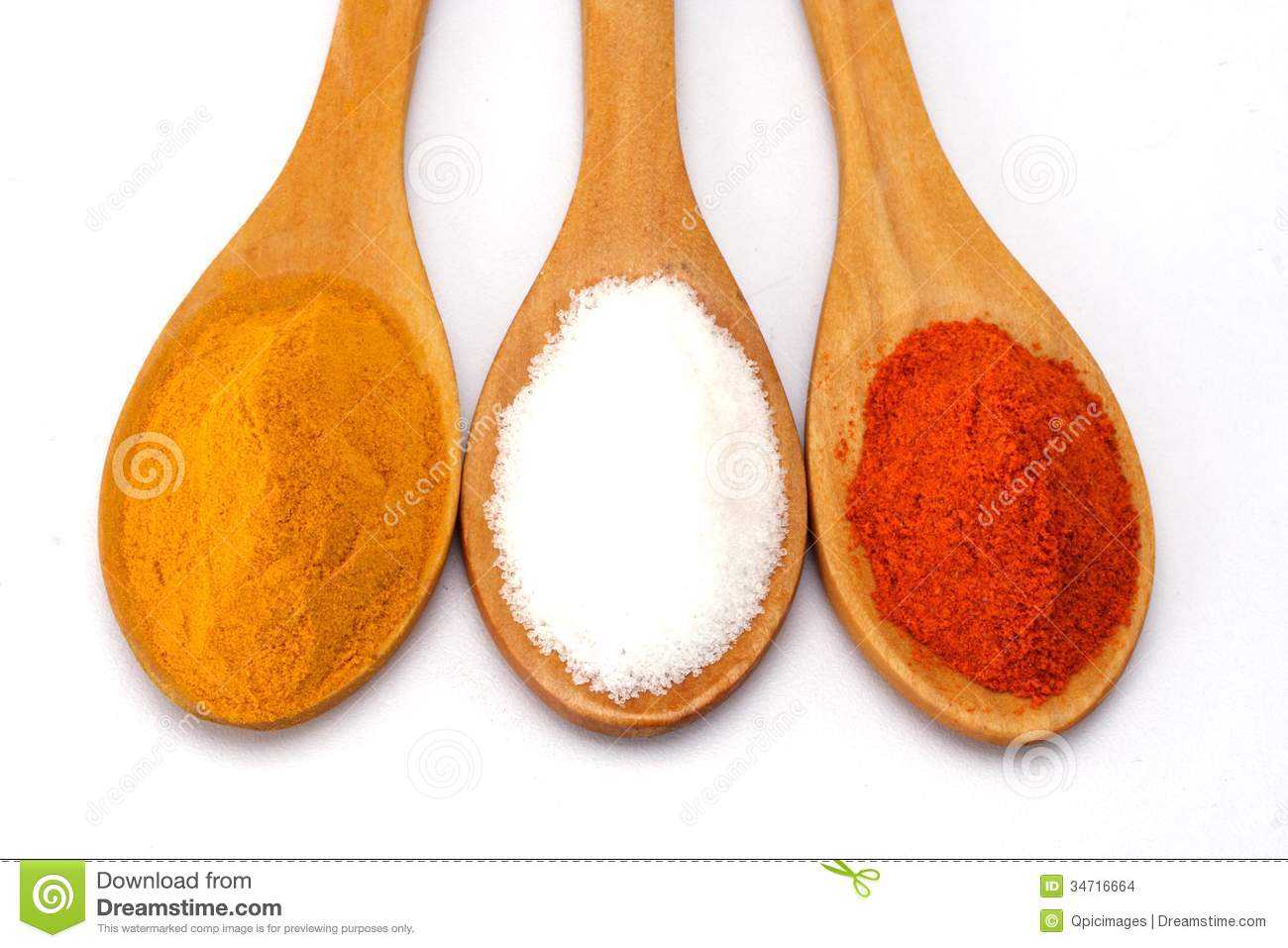 Closeup Of Turmeric, Salt And Red Chilli Powder Stock Images.