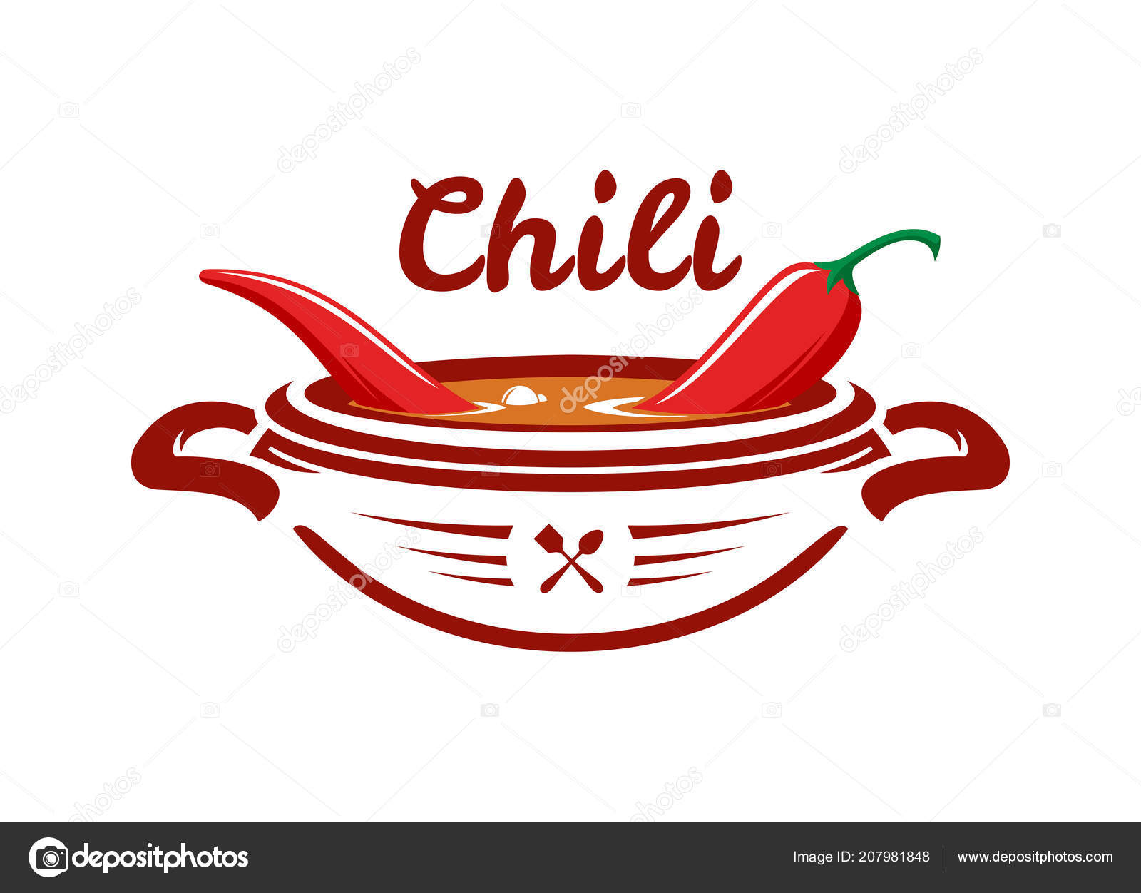 Chili soup with red pepper vector emblem — Stock Vector © gala_che.
