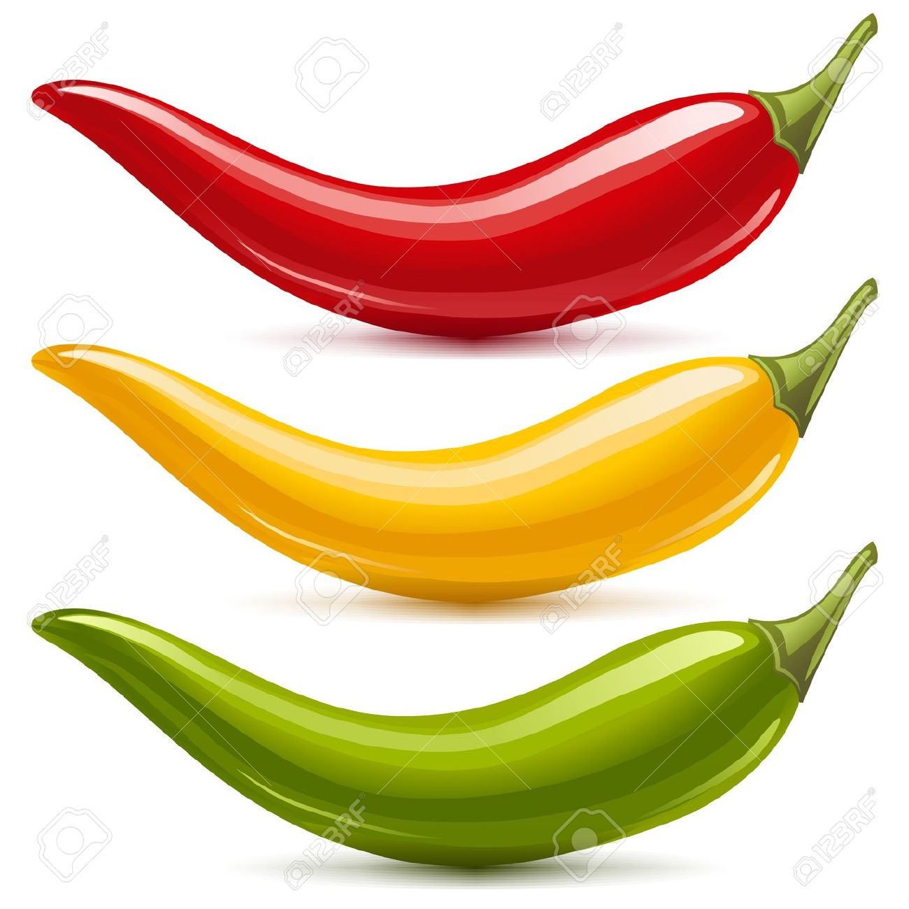 Free chili peppers green yellow red clipart.