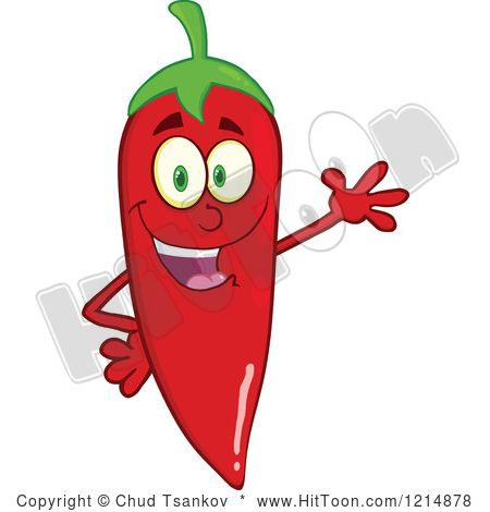 Red Hot Chili Pepper Character Waving.