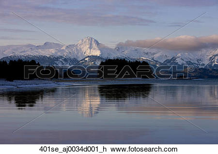 Stock Photo of Scenic view of the Chilkat Mountains and Eagle.