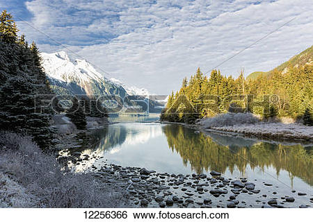 "Stock Images of ""Scenic view of Chilkoot River flowing from."