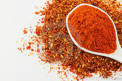 A Spoon Of Red Chili Powder Stock Images.