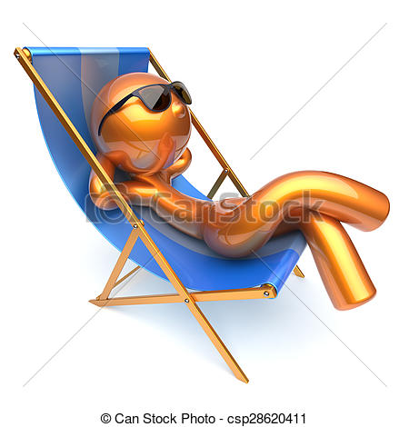 Clipart of Man relaxing cartoon character chilling beach deck.