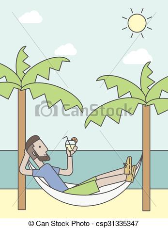 EPS Vector of Man chilling in hammock..