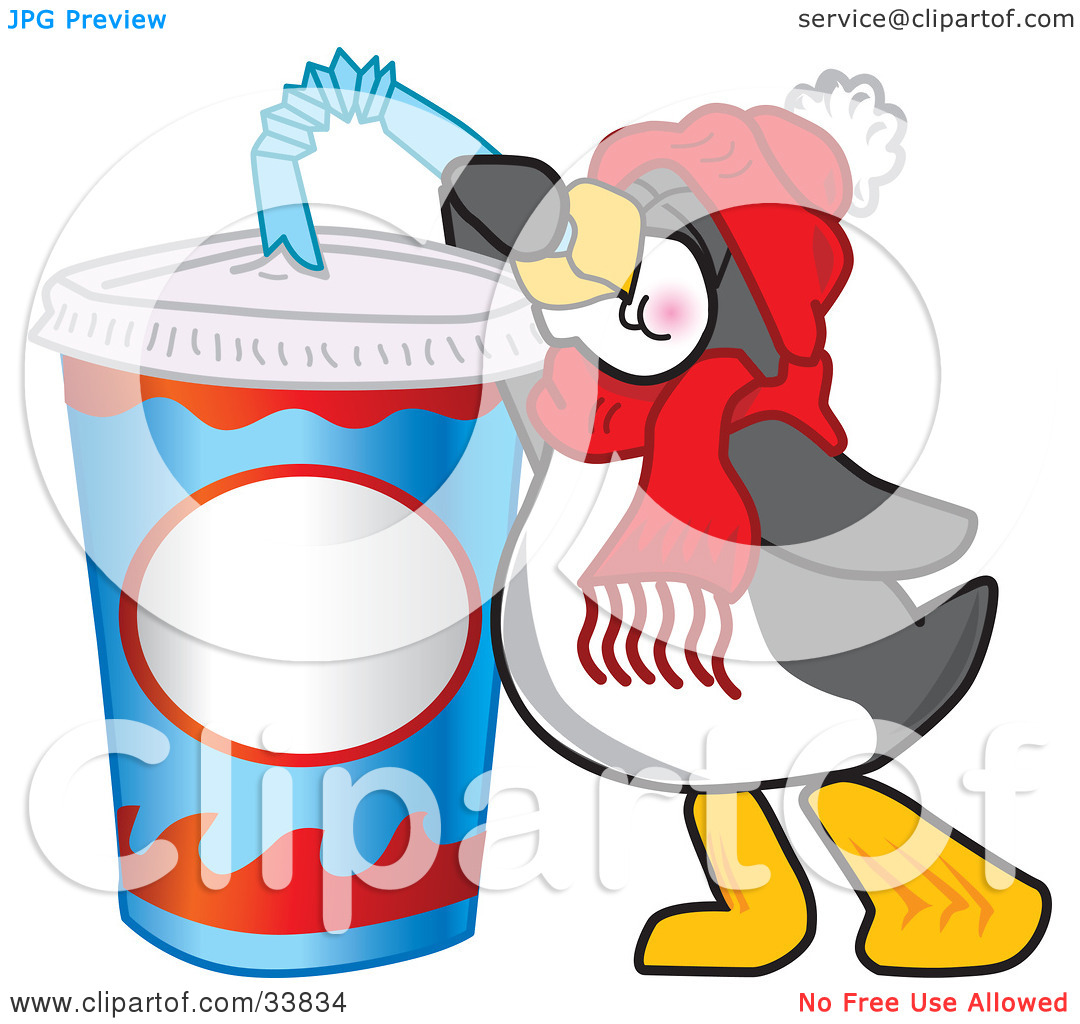 Soda pop character chilling on ice clipart.
