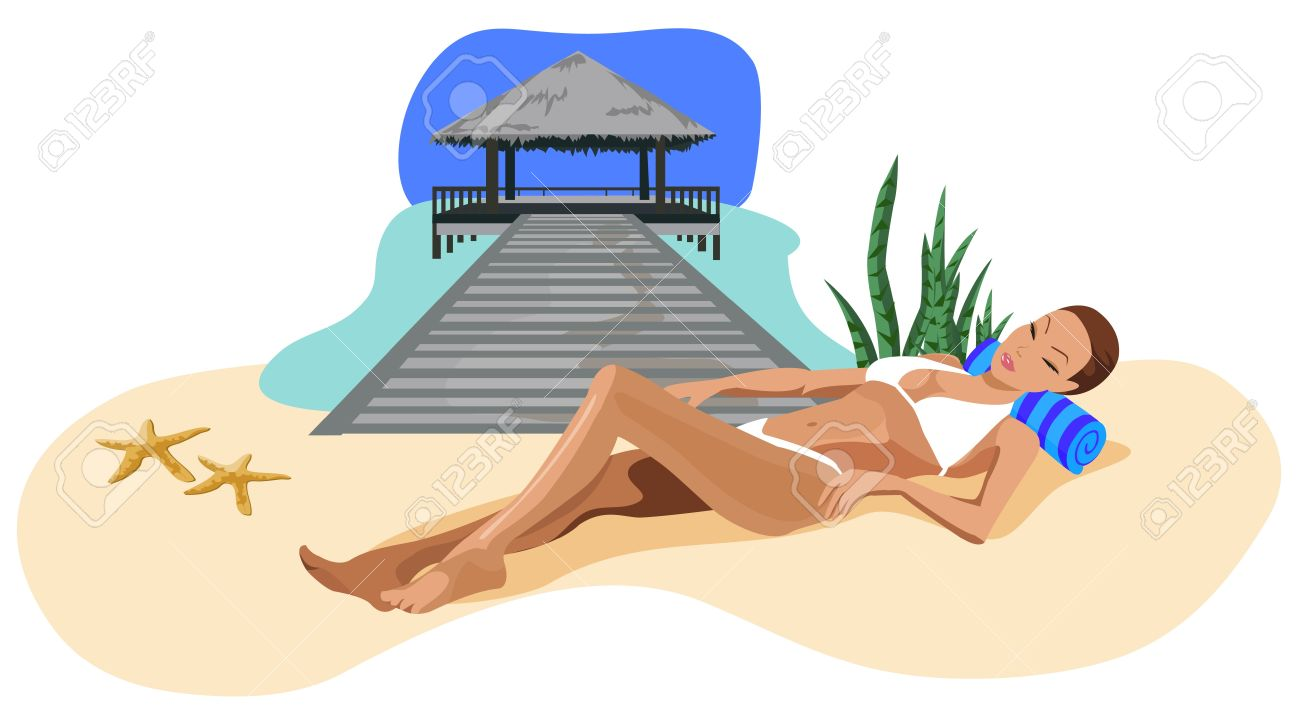 Illustration Of A Woman Chilling Out On The Beach Royalty Free.
