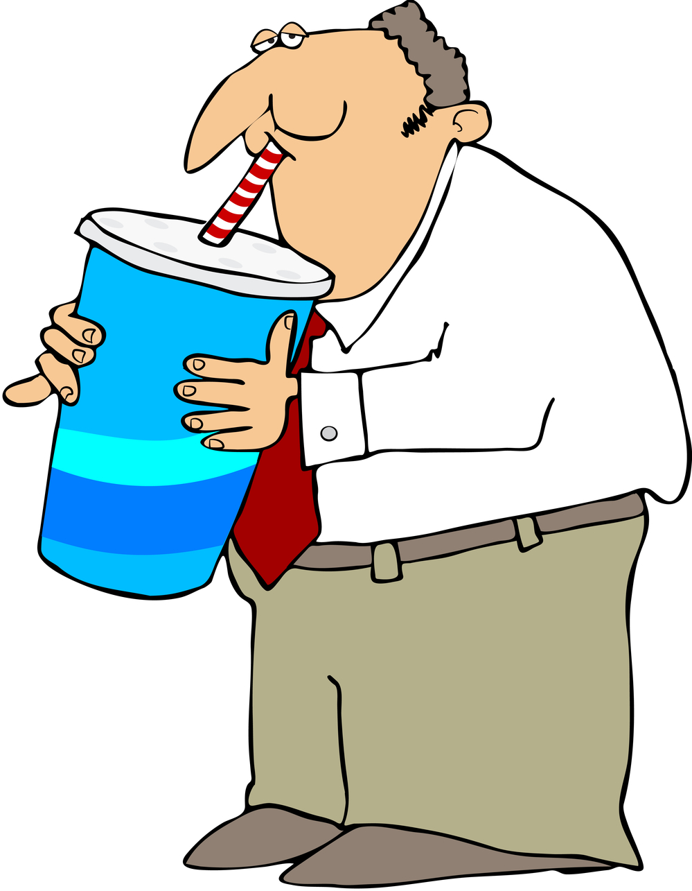 Soda can man chilling on ice clipart.