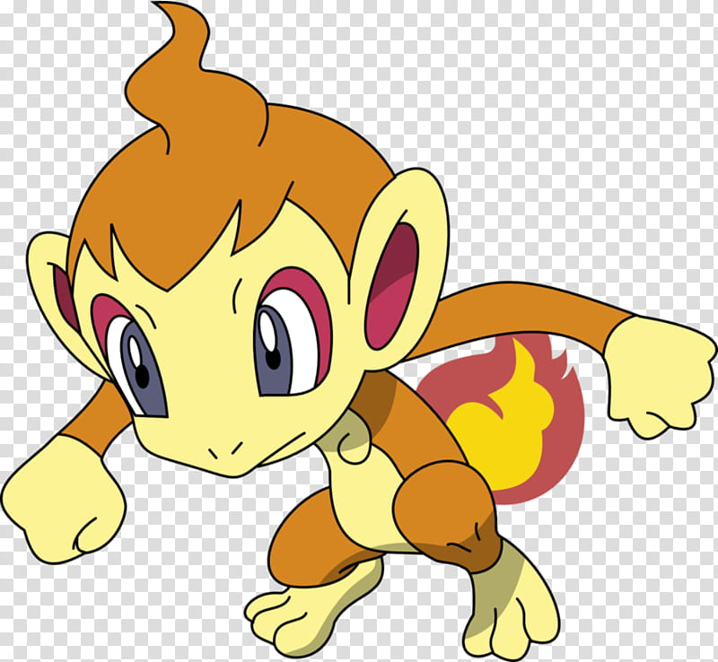 Chimchar, brown monkey with fire tail illustration.
