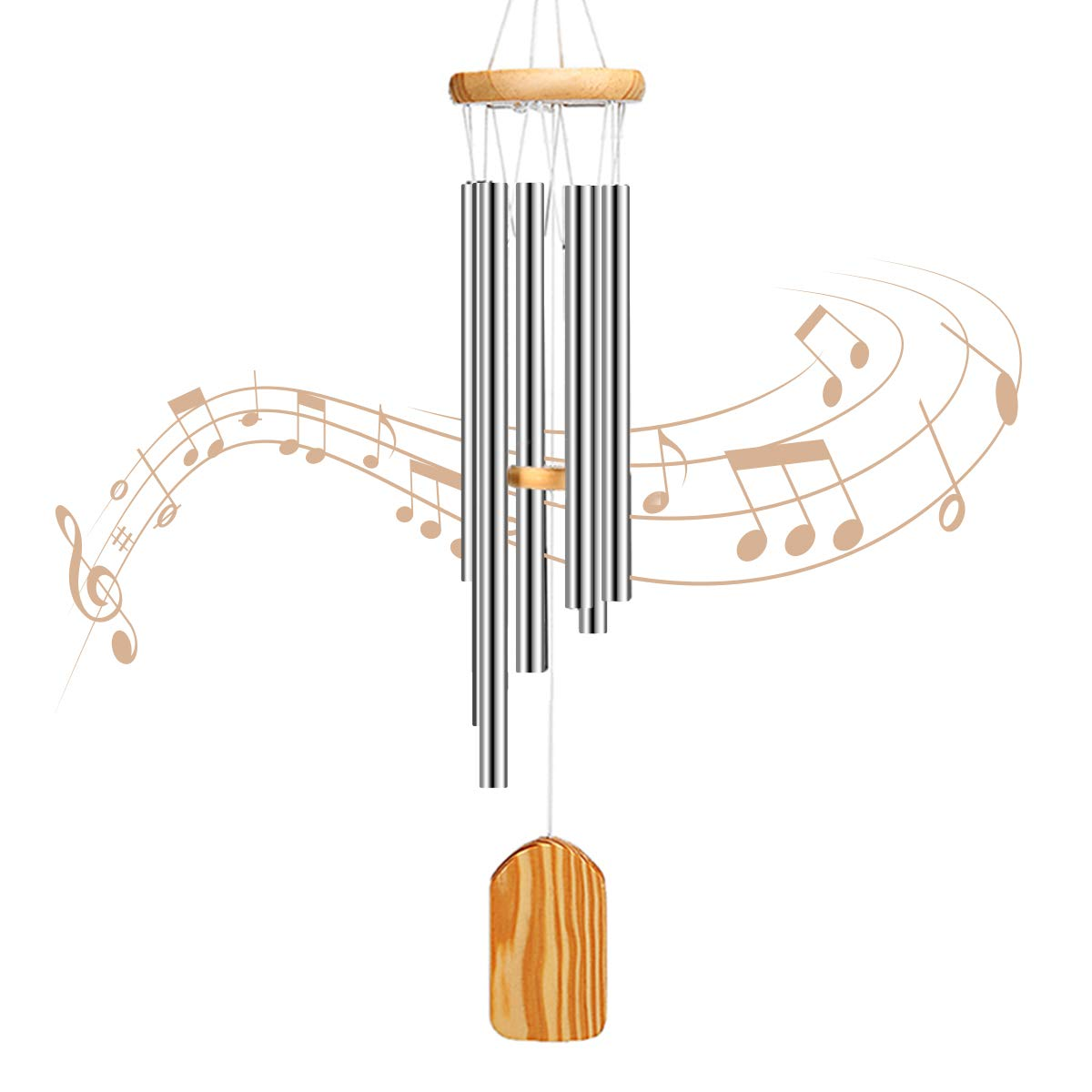 PATHONOR Wind Chime, Amazing Grace Wind Chime 6 Metal Tubes Wind Chimes  Outdoor Best Gift for Mom Family, Friends, Children, Lovers, Colleagues.