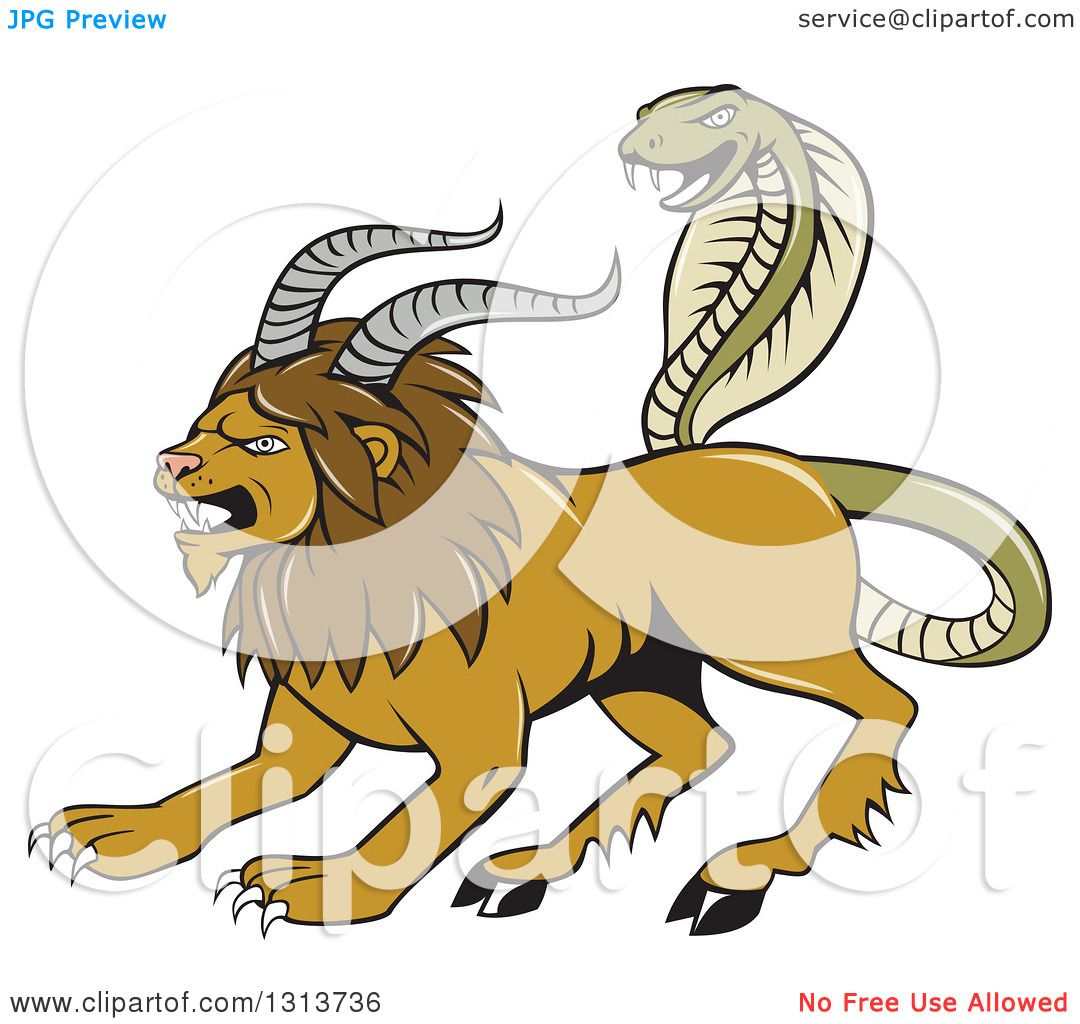 Clipart of a Cartoon Chimera Male Lion with Goat Horns and a Snake.